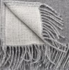 """""""Etno 1-00"""" Ddouble- sided merino wool throw in gray and white"""