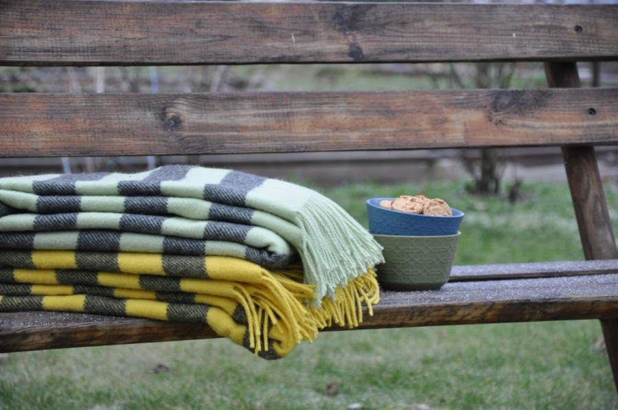 """""""Argo 4-05 """"  Pure New Wool throw in  yellow and gray stripes"""